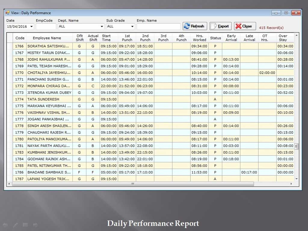 Daily Performance Attendance - Sunrise Software